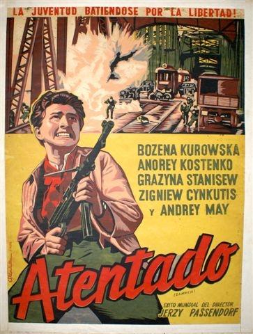 Atentado -cartel de cine polaco, 1959, 93 x 70 cm.