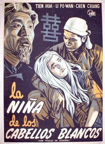 La niña de los cabellos Blancos -cartel de cine chino 1960, 92 x 69 cm.